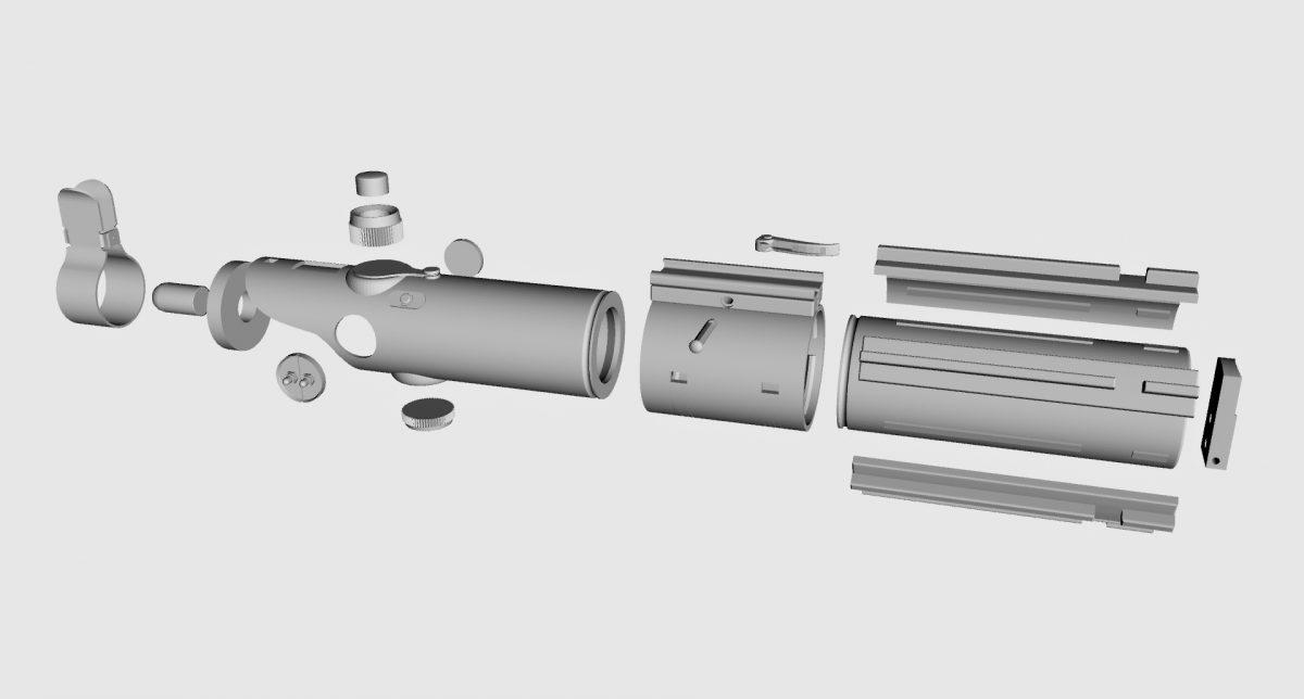 Alle losse onderdelen van het 3D model.